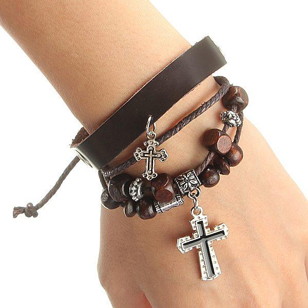 Punk Multilayer Cross Wrist Leather Cord Cuff Charm Bracelet Unisex Men Jewelry