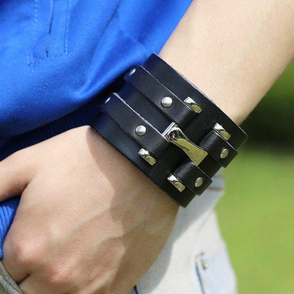 Punk Rivet Double Loop Wide Snap Button Leather Bracelet For Men Men Jewelry