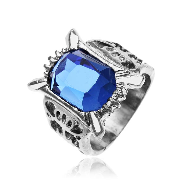 Punk Vintage Sapphire Blue Crystal Ring Men Jewelry Men Jewelry