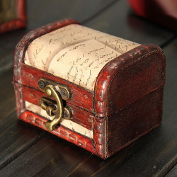 Retro Vintage Stamp Wooden Jewelry Storage Box Case Metal Lock