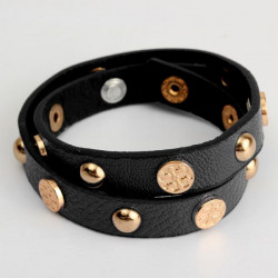 Rivet Charm Button Wrap Leather Bracelet Women Men