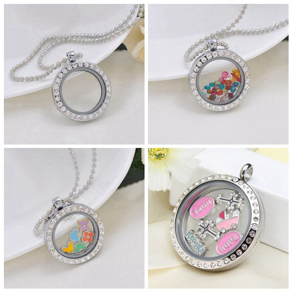 Round Stainless Steel Crystal Glass Magnet Floating Locket Pendant Jewelry Design & Repair