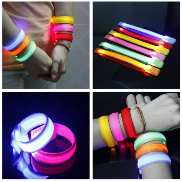 Running Gear Glowing LED Wrist Band Lights Flash Nylon Strap Bracelet Men Jewelry