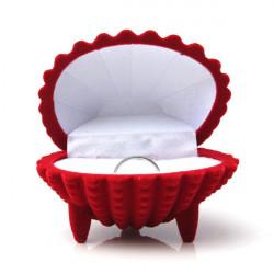 Shell Shape Velvet Ring Earrings Pendant Gift Box Jewelry Case
