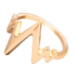 Silver Gold Plated Heart Beat V Shape Finger Ring Jewelry Unisex Men Jewelry