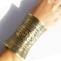 Unisex Vintage Embossed Raised Long Cuff Bracelet