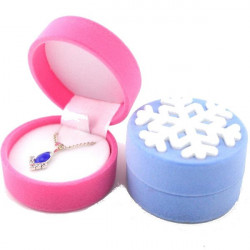 Velvet Snowflake Ring Earrings Necklace Jewelry Box Storage Case Gift