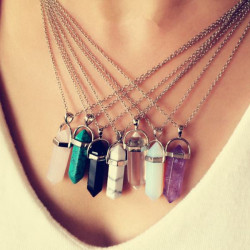 Vintage Hexagonal Pendulum Gemstone Column Quartz Necklace Pendant