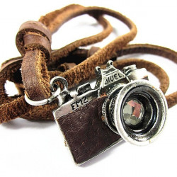 Vintage Men Camera Leather Necklace Retro Handmade Alloy
