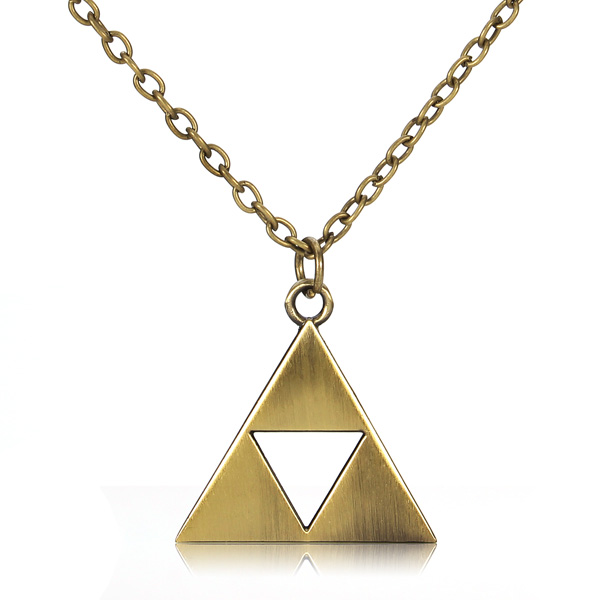 Vintage Triangle Metal Alloy Pendant Necklace Gold Silver Men Jewelry