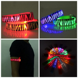 Zebra Running Gear Glowing LED Arm Band Lights Flash Strap Bracelet