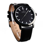 1123L Night Light luminous Men Leather Black Quartz Wrist Watch