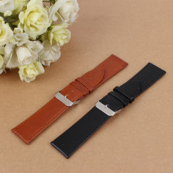 16-22mm Mens Womens Genuine Leather Strap Buckle Watch Band