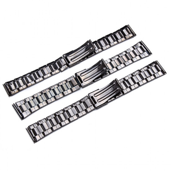 18mm 20mm 22mm Black Color Stainless Steel Strap Watch Band