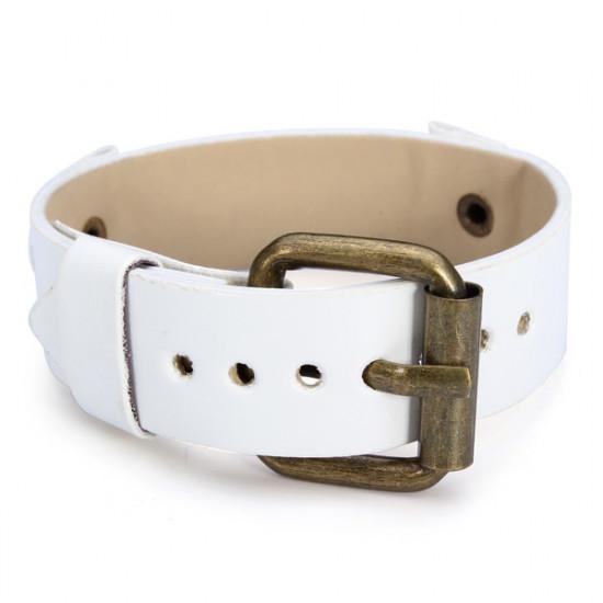 20mm White PU Leather Men Women Mental Wrist Watch Band