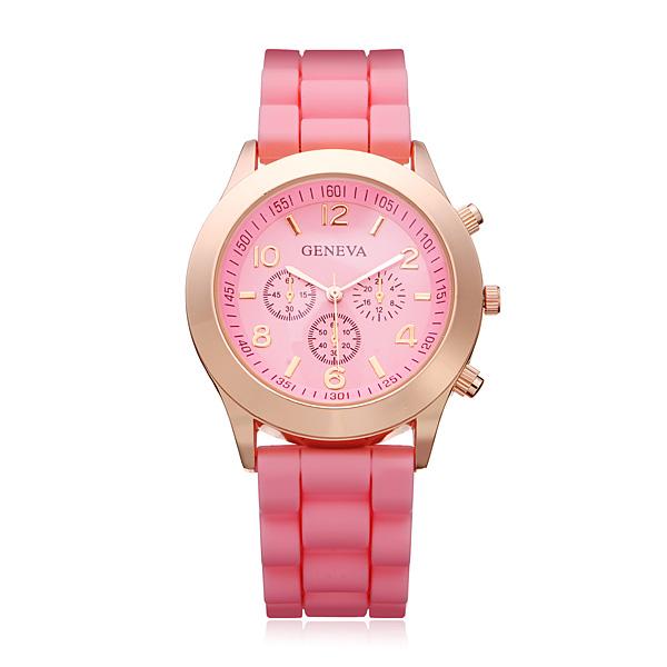 3 Dial Number Silicone Gold Women Round Quartz Wrist Watch Watch