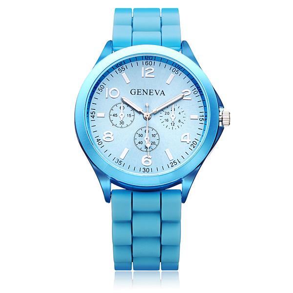 3 Dial Number Silicone Gold Women Round Quartz Wrist Watch