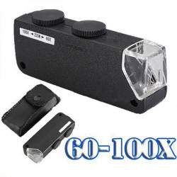 60X-100X Bärbar Lighted Mikroskop Förstoring