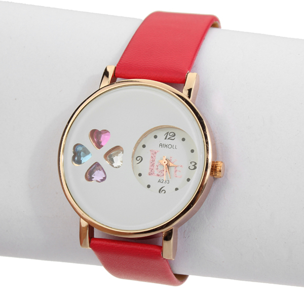 AIKOLL Small Heart Love Analog Leather Quartz Round Women Wrist Watch