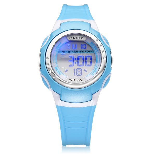 ALIKE A9034 Sport Black Round Back Light Kit Children Wrist Watch Watch