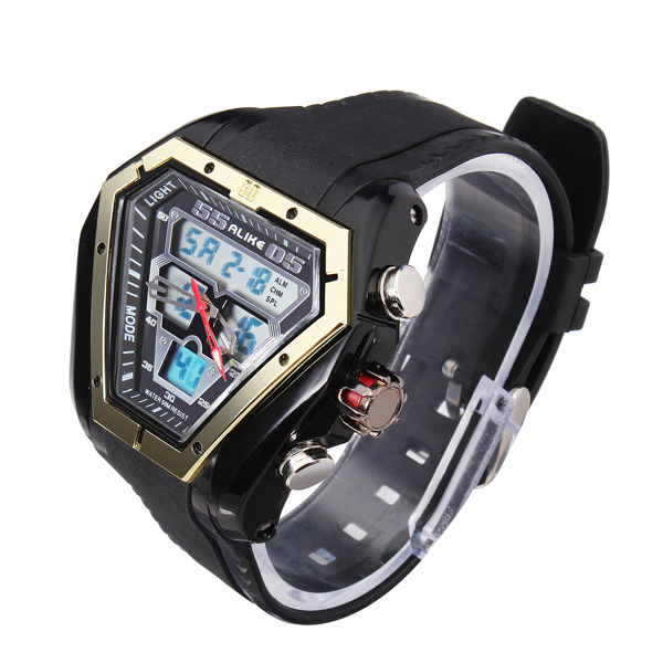 ALIKE AK1054 Sport LED Waterproof Dual Display Rubber Men Wrist Watch