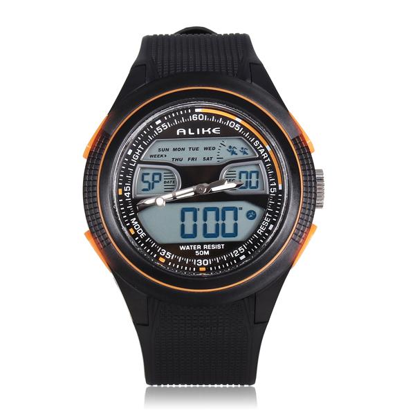 ALIKE AK1273 Sport LED Waterproof Dual Display Rubber Men Wrist Watch