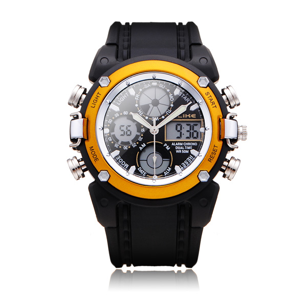 ALIKE AK7110 Sport Black Round Back Light Men Women Quartz Wrist Watch Watch