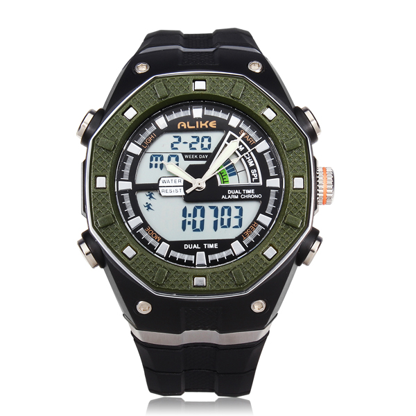 ALIKE AK9140 Sport LED Waterproof Multifunction Rubber Men Wrist Watch Watch