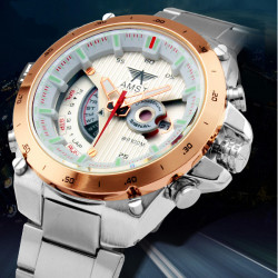 AMST 3008 Stainless Steel Date Waterproof Wrist Watch