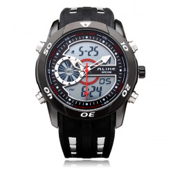 Alike AK110 Sport Big Dial Military Back Light Black Men Wrist Watch
