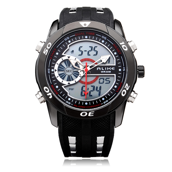 Alike AK110 Sport Big Dial Military Back Light Black Men Wrist Watch Watch