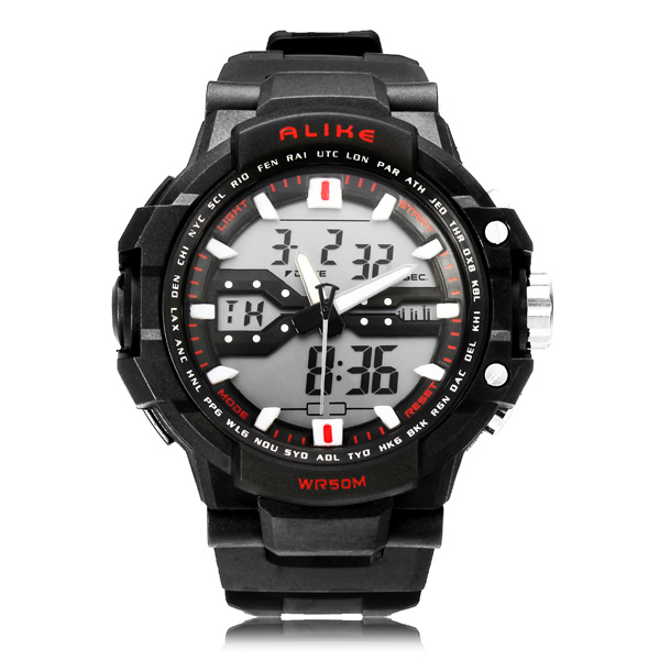 Alike AK1282 Sport Date Chronograph Back Light Black Men Wrist Watch Watch