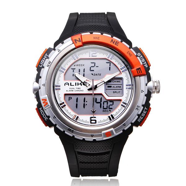 Alike AK1388 Sport Military Black Dual Time Rubber Men Quartz Watch