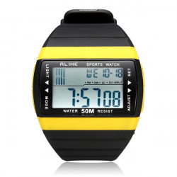 Alike AK6116 Sport Big Dial Date Rectangle Light Black Men Wrist Watch