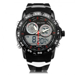 Alike AL111 Sport Alarm Military Back Light Black Men Wrist Watch