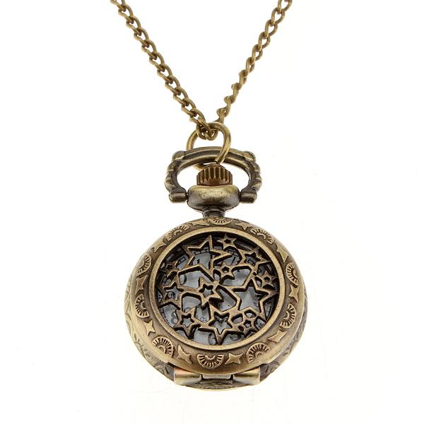 Antique Bronze Hollow Star Pattern Chain Pocket Watch