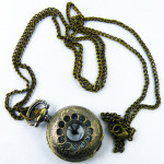 Antique Hollow Copper Pocket Watch Necklace Chain Gift