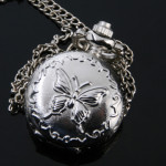 Antique Silver Butterfly Pocket Watch Necklace Chain Watch