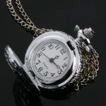 Antique Silver Hollow Round Pocket Watch Necklace Chain Watch