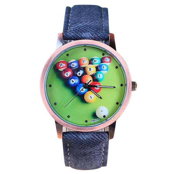 Billiards Fabric Band Men Women Cartoon Waterproof Quartz Watch Watch