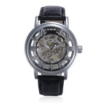 Black Roma Numerals Skeleton Leather Mechanical Hand Wind Wrist Watch Watch