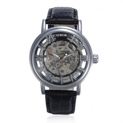 Black Roma Numerals Skeleton Leather Mechanical Hand Wind Wrist Watch