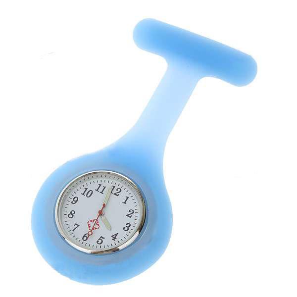 Blue Silicone Brooch Quartz Lapel Nurse Watch HOT