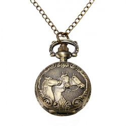 Bronze 3 Horse Engrave Quartz Pocket Watch Necklace