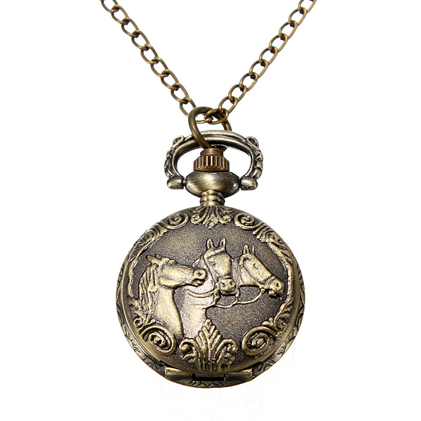 Bronze 3 Horse Engrave Quartz Pocket Watch Necklace Watch
