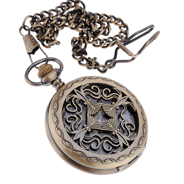 Bronze Antique Hollow-out Mechnical Lady's Pocket Watch Chain