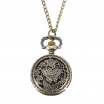 Bronze Butterfly Engrave Quartz Pocket Watch Pendant Chain Necklace Watch