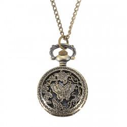 Bronze Butterfly Engrave Quartz Pocket Watch Pendant Chain Necklace