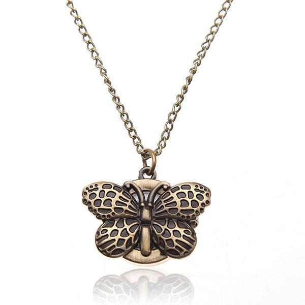 Bronze Butterfly Long Necklace Chain Women Pocket Watch Watch
