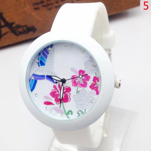 Butterfly Bird Flower 17 Patterns Rhinestone Silicone Quartz Watch Watch